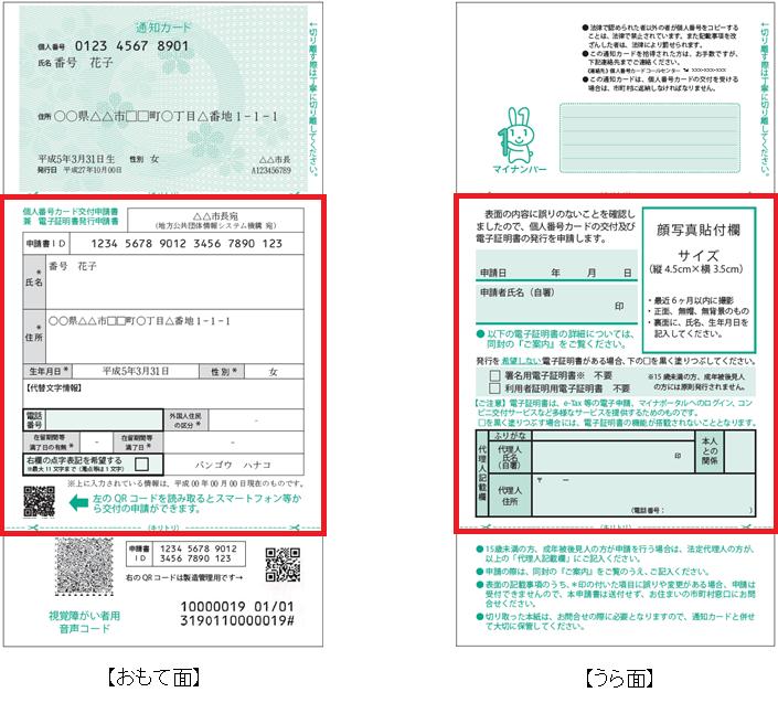 個人番号カード交付申請書サンプル