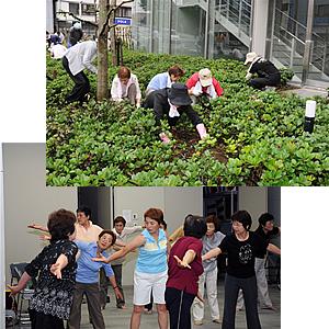 アルテリオ周辺の除草作業には、女性学級のみなさんも参加しました (上) 「足は元気の源」の講演で、トレーニングに取り組む女性学級のみなさん (下)