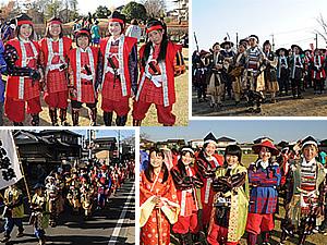 者行列に参加する小栗、新治、古里小学校の児童たち