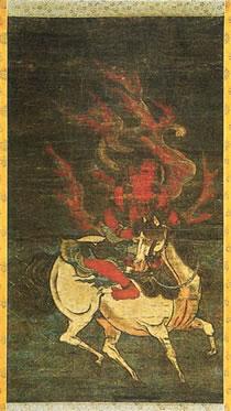 絹本著色馬形護法童子像(けんぽんちゃくしょくばけいごほうどうじぞう)