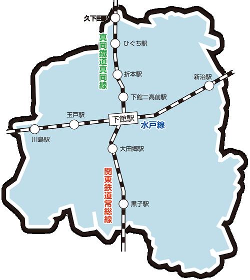 『筑西市鉄道マップ』の画像