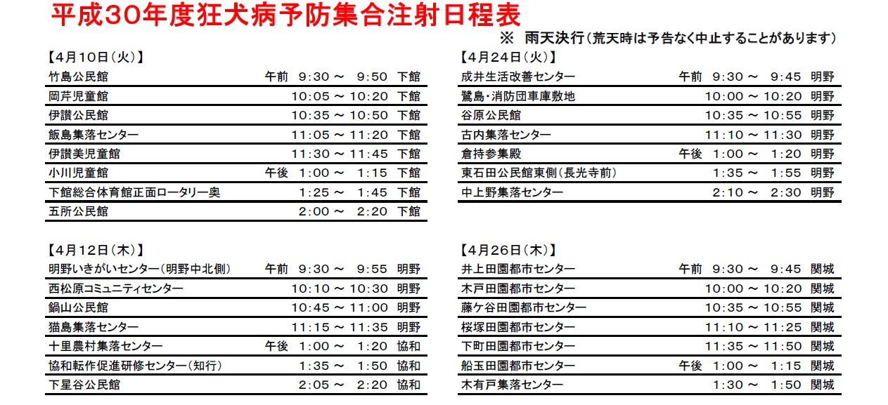 『平成30年度狂犬病予防集合注射日程表(1)』の画像