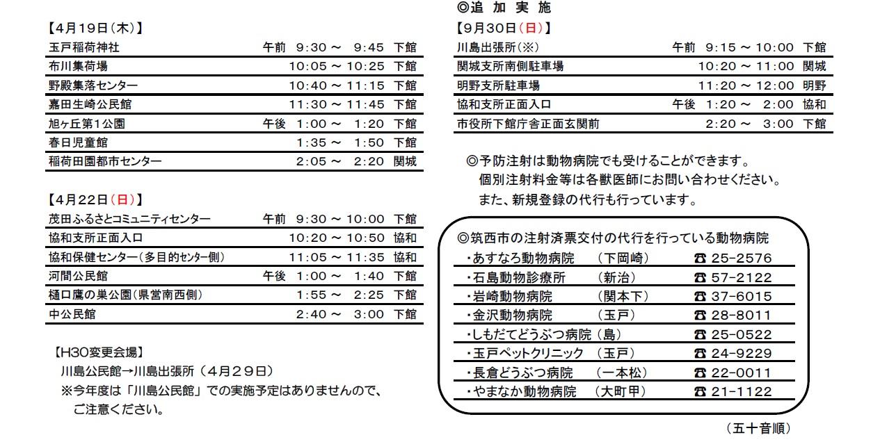 『平成30年度狂犬病予防集合注射日程表(3)』の画像