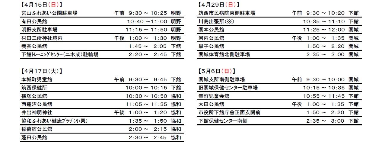 『平成30年度狂犬病予防集合注射日程表(2)』の画像