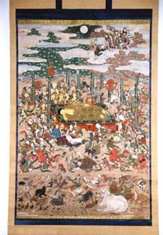 紙本著色仏涅槃図(しほんちゃくしょくぶつねはんず)