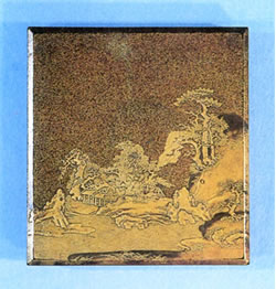 茅屋山水蒔絵硯箱